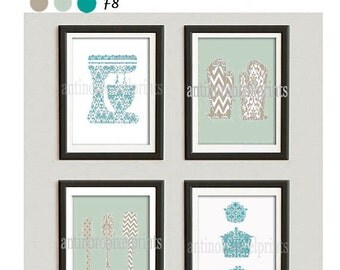 Kitchen Tools Turquoise Khaki Green White Art Collection  -Set of (4) - 5x7 Prints (Unframed)