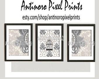Damask Bird Wall Art Prints Khaki Greys Wall Art Set of (3) 8x10 Prints - (UNFRAMED) Custom Colors Sizes Available