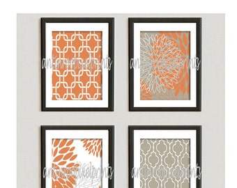 Orange Khaki Floral Vintage / Modern inspired  Art Prints Collection  -Set of (4) - 5x7 Prints -   (UNFRAMED)