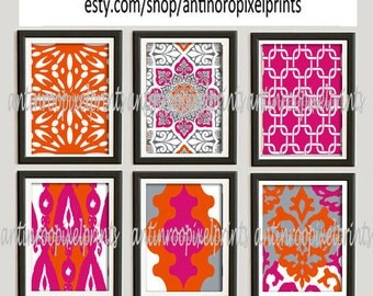 Wall Art Prints Orange Pink Grey Vintage / Modern inspired  Art Prints Collection  -Set of (6) - 8 x 10 Prints - (UNFRAMED)