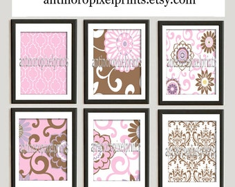 Brooklyn Art Baby Nursery Art Prints Collection  -Set of (6) - 8x10 Prints -Baby Pink Brown White   (UNFRAMED)