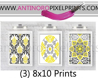 Vintage / Modern Inspired Ikat Art Prints Collection - (3) 8x10 Prints - Featured in Yellow Grey White Black (UNFRAMED)