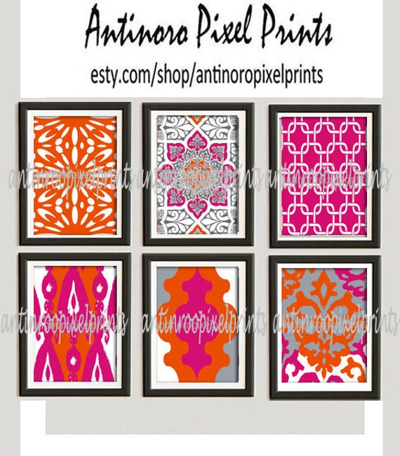 19 Collection Of Purple And Grey Wall Art: Wall Art Prints Orange Pink Grey Vintage / Modern Inspired