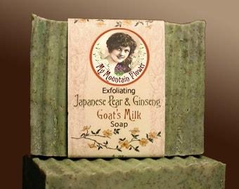 Natural Japanese Pear & Ginseng Goat's Milk Artisan Moisturizing Scented Cold Process Lye Soap
