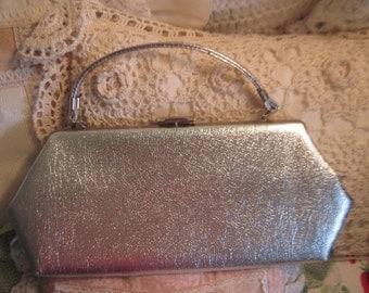 Vintage Evening Bag, Vintage Purse, Vintage Hand Purse, Pretty Silver Evening Bag,  :)S