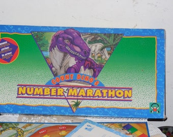 1993 Count Dino's Numbers Marathon Board Game Discovery Toys Mathematics Game,Vintage Game,Board Game,Vintage Board Game,/S