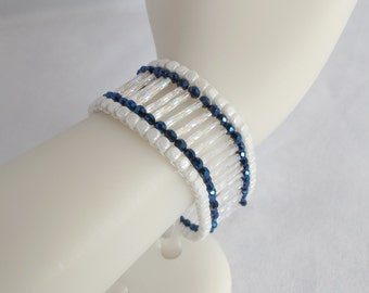 White and Blue Ladder Cuff with Magnetic Clasp, Twisted Bugle Beads, and Metallic Blue Crystals