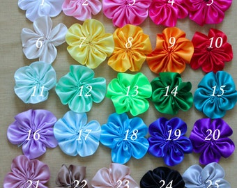 20 Pieces Cluster Satin Flowers - LOOSE- pick your COLORS