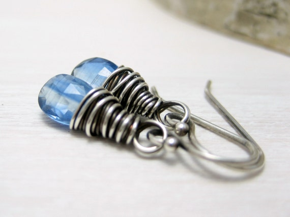 Blue Kyanite Earrings, Sterling Silver Cornflower Blue Gemstone Earrings Wire Wrapped Drop Dangle Earrings Kyanite Jewelry