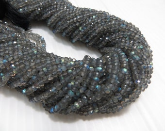 Labradorite 10 Strand X14 Inches AAA Top Quality Smooth Faceted Rondells Beads  Full Flashy Fire  Size 2.50 mm to 3 mm  Approx