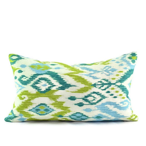 Baby Blue And Brown Throw Pillows : Items similar to Decorative Pillow Cover - Ikat Baby Blue Turquoise Teal Chartreuse Green Ivory ...