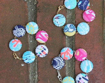 """Lilly Pulitzer """"Sailor Patch"""" Fabric Covered Button Bracelet"""