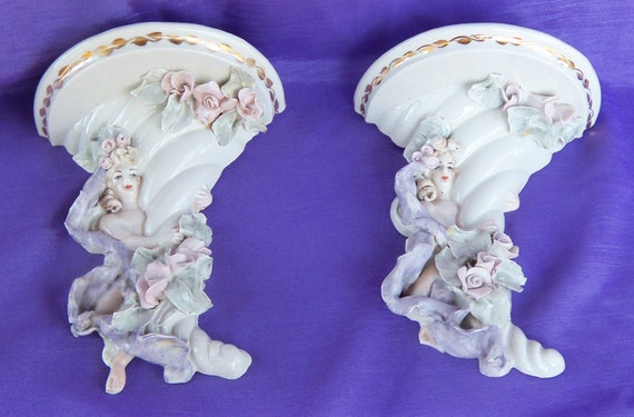 Antique Ceramic Wall Sconces : Vintage Ceramic Wall Sconce Wall Shelf Victorian by LilThisnThat