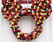 """Large Mickey or Minnie Mouse Ribbon Wreath 20"""" to 22"""""""