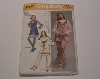 Vintage Simplicity Pattern 9117 Junior Petites Miss Mini Dress Blouse Vest Pants