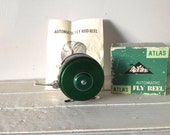 SALE HALF OFF Vintage Miltex Atlas Automatic Fly Reel in Emerald Green with Box