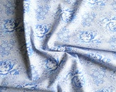 blue roses vintage fabric french vintage fabric vintage cotton fabric floral fabric quilting fabric 133