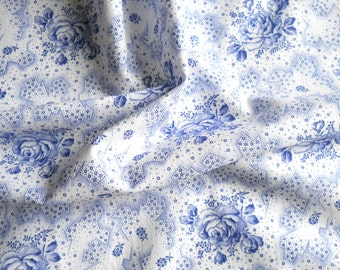 vintage floral fabric patchwork fabric quilting fabric antique fabric blue roses cotton fabric 129
