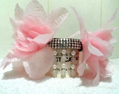 Couture Collar. Large pink flower wrap with diamante center and 3 drop pearls. OOAK