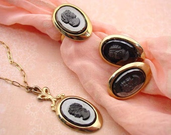 "1964 Sarah Coventry ""Evening Profile"" cameo clip earrings, necklace / pendant and ring"