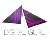 Digital Gurl Post Earrings in Neon Purple and Black