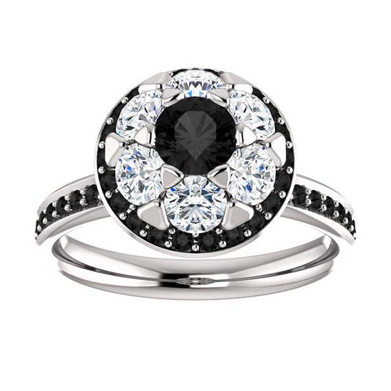 Engagement Ring Diamond Ring Black Diamond Engagement by JPoliseno