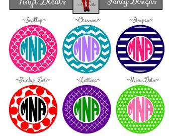 "Vinyl Decal, 2""-6"" circle monograms, 2 Color Design - DIY"