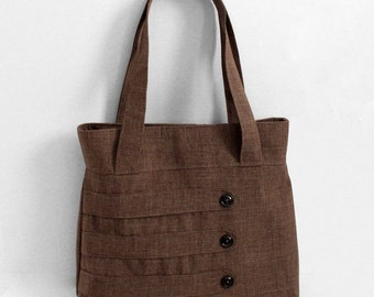 Medium Tote Bag with Decorative Straps in Brown Suiting