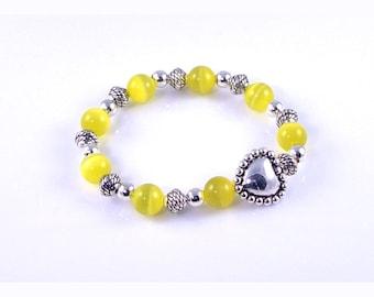 Bali Style Heart Bead, Yellow Cats Eye Stretch Bracelet