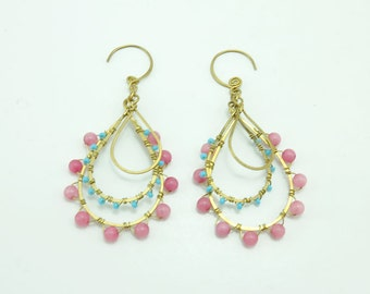 Rose quartz,,beads brass wire earring hoop.