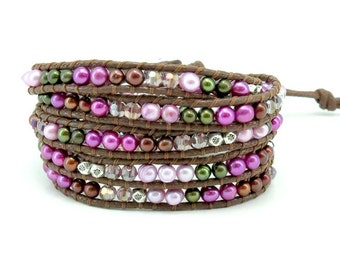 Freshwater pearl,silver plated beads wrap 5 bracelet
