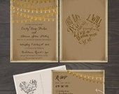 Rustic Wedding Invitation Card RSVP Set This day I will marry my best friend Sting Lights kraft paper burlap calligraphy quote