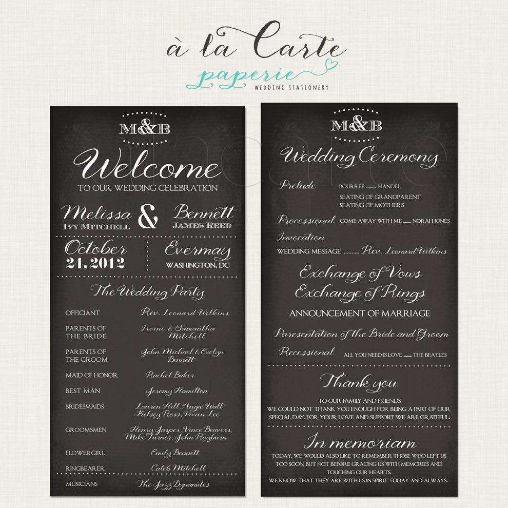 Wedding Ceremony Program Card Wedding Program By