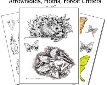 Printed Pyropaper Animals, Arrowheads, Moths (Set 2)