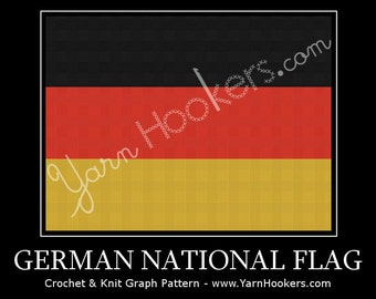 Germany National Flag - Afghan Crochet Graph Pattern Chart - Instant Download
