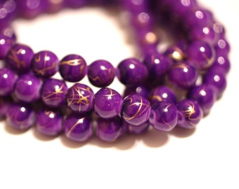80pc Bracelet Purple and Gold Glass beads Basketball wives-8mm