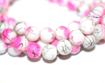 80pc Loose Beads/Pink White Black/ Basketball wives inspired Bracelet Beads-Glass Beads-Necklace Beads
