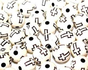 50pc Cross beads/Ivory and Black / Bracelet Beads / Necklace Beads / Acrylic beads / Basketball wives Earrings/10mm