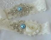 Wedding Garter Set, Stretch Lace Wedding Garter, Ivory Flower Garter,Something Blue Garter