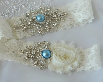 Wedding Garter Set, Stretch Lace Wedding Garter, Ivory Flower Garter,Something Blue Garter-Vintage Bride-Vintage Garter Belt