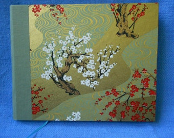 Handmade blank book with Chiyogami Cherry Trees: Flowering Words