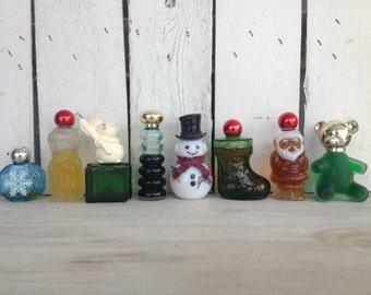 SALE Vintage 8 Miniature Christmas perfume bottles / vintage 1970s Avon Christmas bottles / vintage Christmas decor / vintage bottles