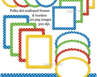 Polka Dot Scalloped Labels - Frames and Borders Clip Art Set- printable yellow, red, green and blue digital clipart - instant download