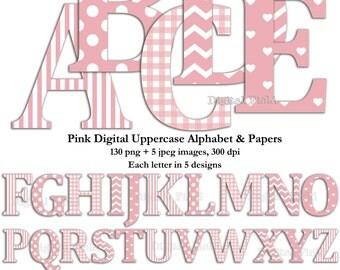 Pink uppercase alphabet clip art set & digital scrapbooking paper- printable digital letters - instant download