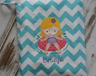 Little Girl Swimming Applique on  Personalized Wet Bag with Zipper Closure