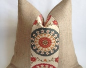 Medallion Fabric and Natural Burlap Pillow Cover