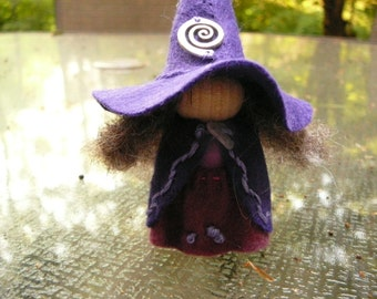 Purple Wool Felt Witch, Peg Doll Witch, Waldorf Inspired, One of a Kind, Minature Witch