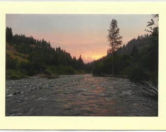 SUNSET on EAGLE CREEK No 1 / Original Outdoor Scenery on Blank Photo Card Twin Fold Design - Local Artist Photography