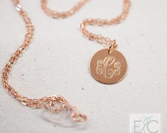 """14kt ROSE GOLD very small 1/2"""" engraved monogram necklace"""