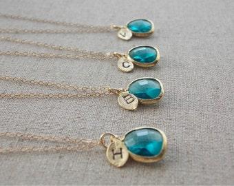 FIVE- BRIDESMAIDS-Dark Aqua Blue Necklaces with stamped initial. Personalized, ocean blue, beach wedding, summer wedding, bridal